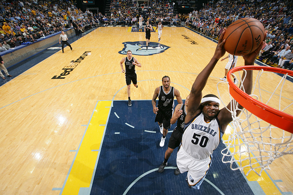 Zach Randolph of the Memphis Grizzlies goes up for a dunk against the San Antonio Spurs during Game Three of the Western Conference Quarterfinals of the 2017 NBA Playoffs on April 20, 2017 at FedExForum in Memphis, Tennessee.