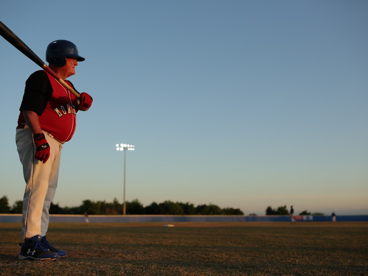 Adolph Hoffman swings his 35 ounce bat at McAllister Park as he warms up before playing the San Antonio Yankee senior baseball team.