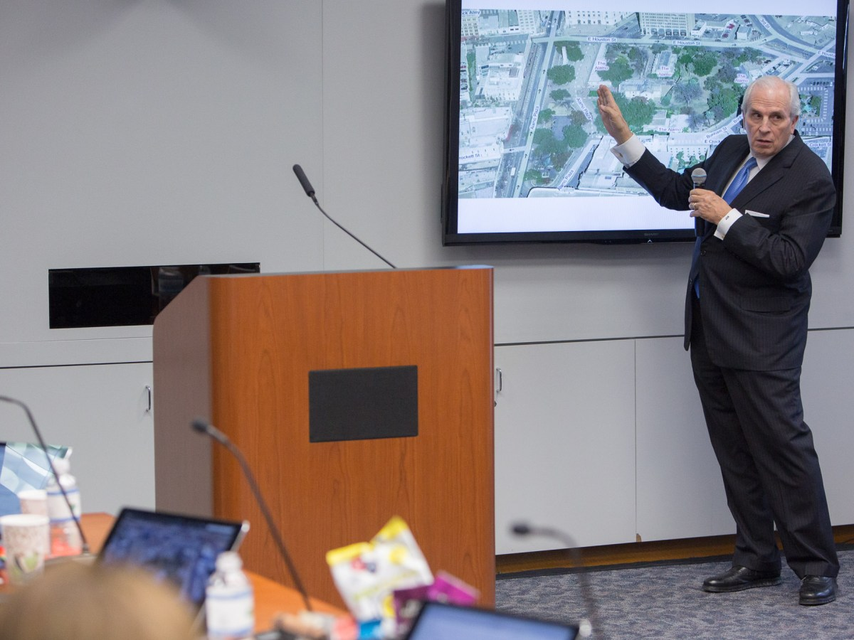 Alamo Endowment Chairman Gene Powell demonstrates the proposed road closures and viewing distances in the proposed Alamo master plan.