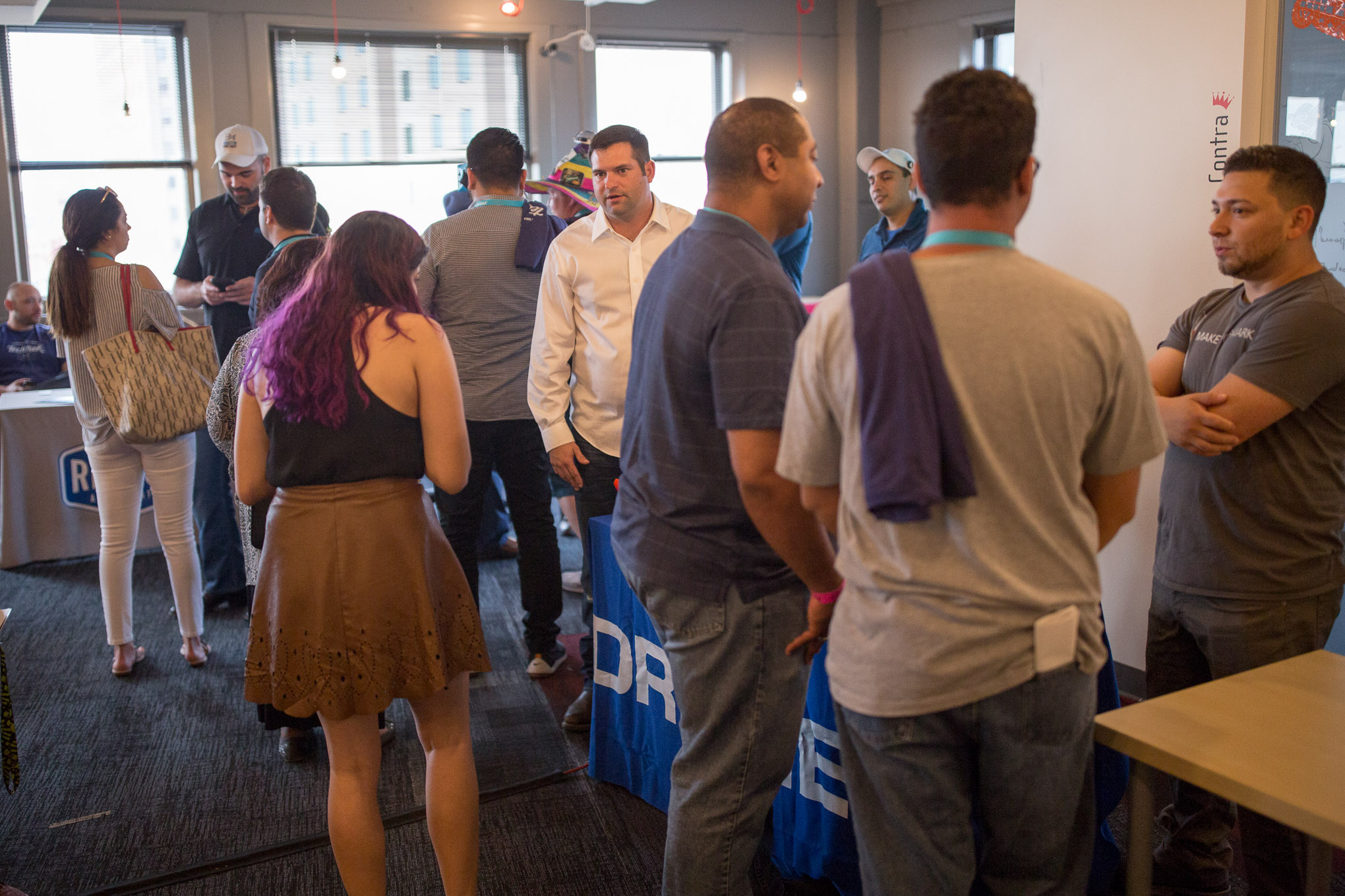 Startups at Geekdom showcase their products and deliverables on the 7th floor of the Rand Building.