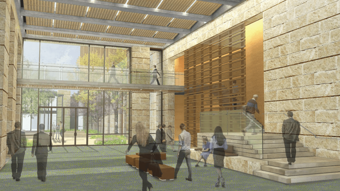 A rendering of the interior of the future Federal Court House.