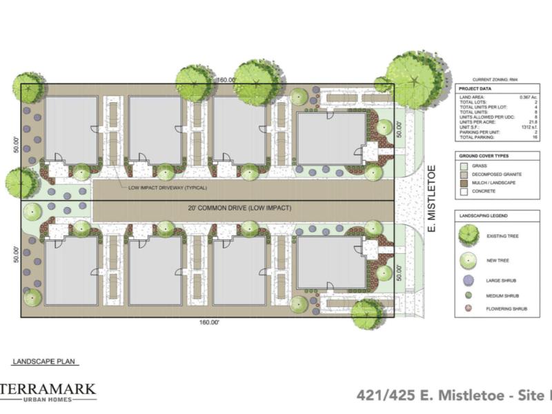 421 / 425 E. Mistletoe proposed site plan.