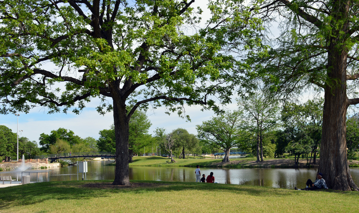 Visitors enjoying the serenity and beauty of the park and lake.