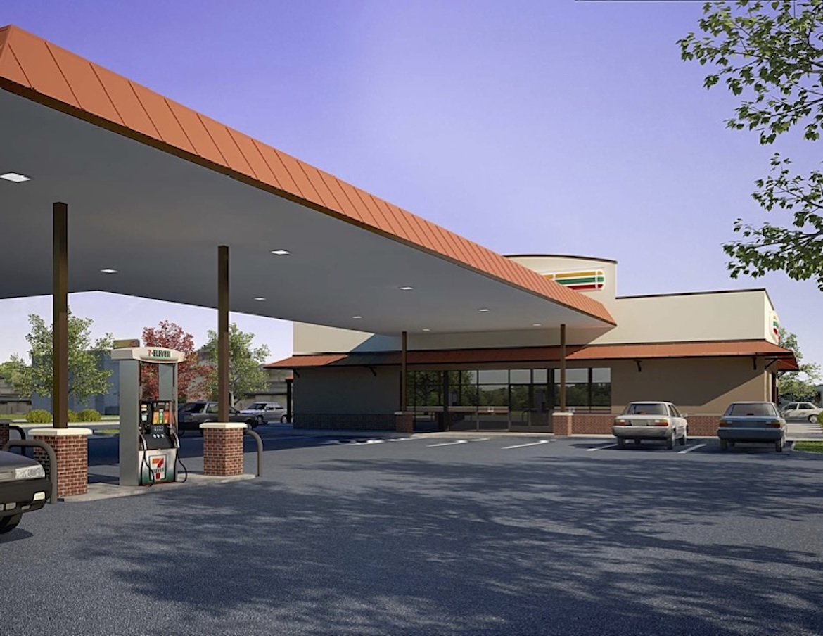 """This rendering shows the proposed """"Malt House 7-Eleven"""" from the perspective of the Buena Vista Street entrance looking east."""