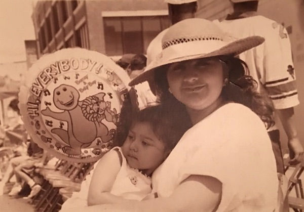 Denise Hernández and her mother at the Battle of Flowers Parade in 1994.