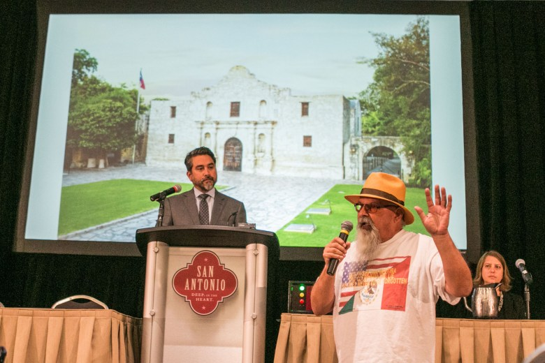 José Sierra Jr. (right) gives a heated speech at the public input meeting for the Alamo Master Plan.