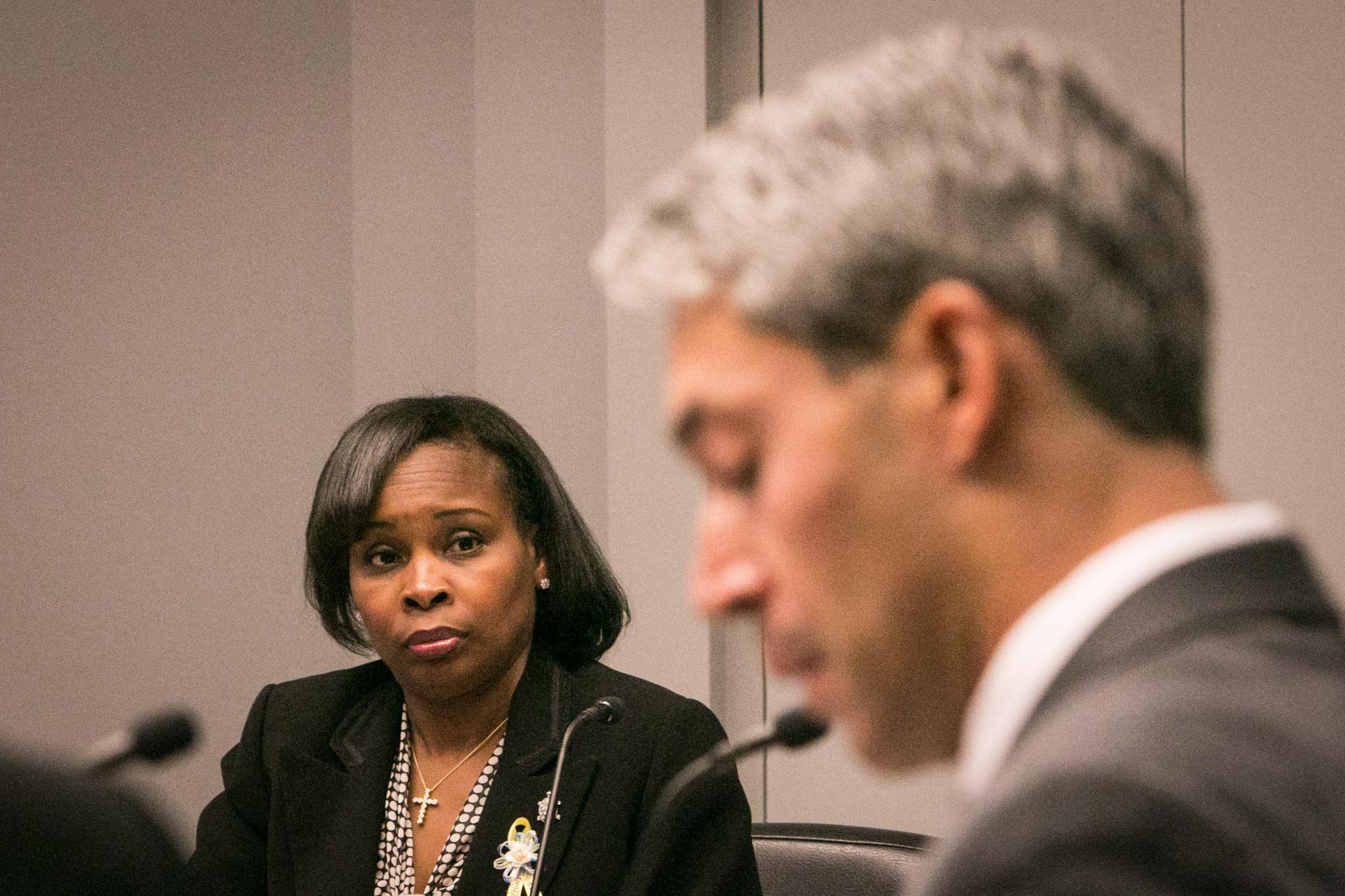 Mayor Ivy Taylor (left) glances at Councilman Ron Nirenberg (D8) during City Council B Session at Municipal Plaza Building.