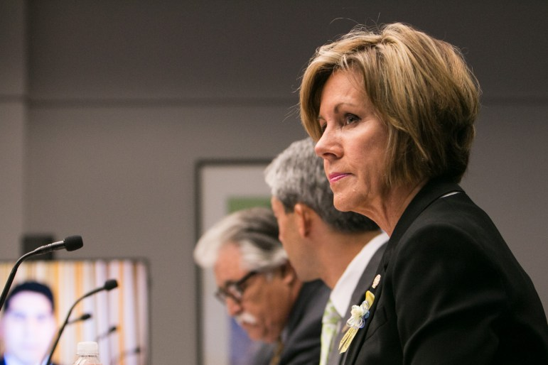 City Manager Sheryl Sculley listens to a presentation at City Council B Session at Municipal Plaza Building.