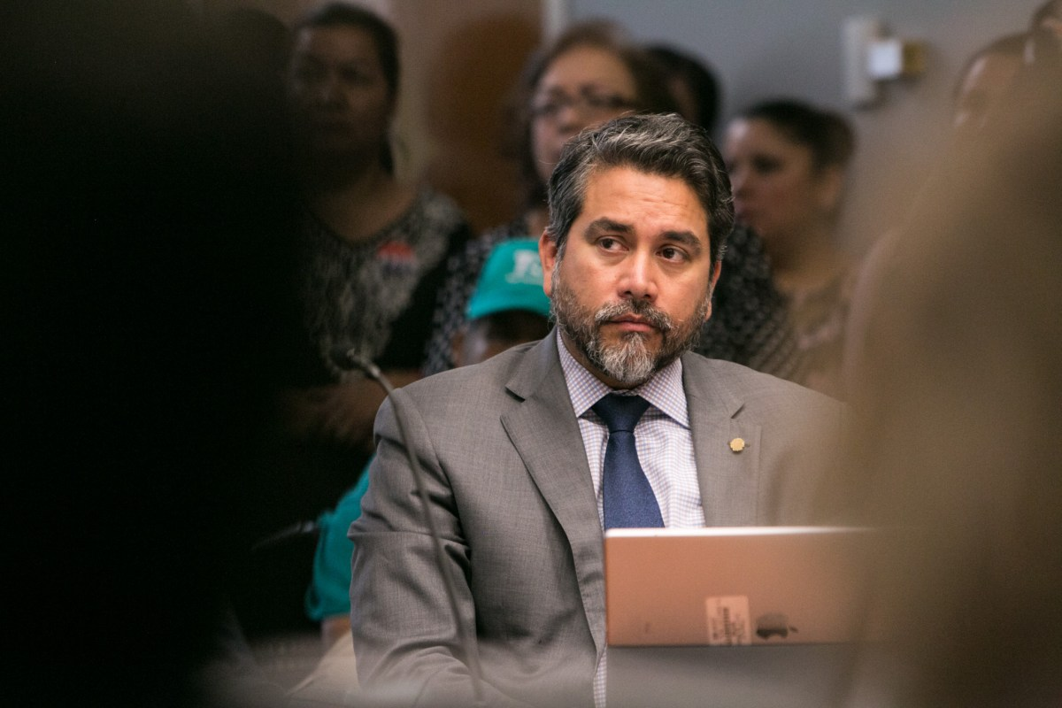 Councilman Roberto Treviño (D1) listens to a presentation at City Council B Session at Municipal Plaza Building.