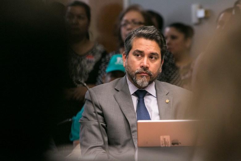 Councilman Roberto Treviño (D1) listens to a presentation at City Council B Session at Municipal Plaza Building.