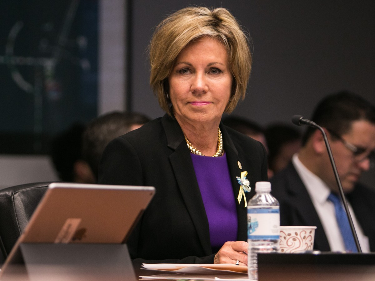 City Manager Sheryl Sculley listens to the discussion at City Council B Session at Municipal Plaza Building.