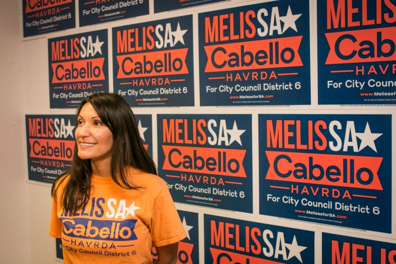 City Council District 6 candidate Melissa Cabello Havrda speaks at a Get Out the Vote rally at her campaign headquarters.