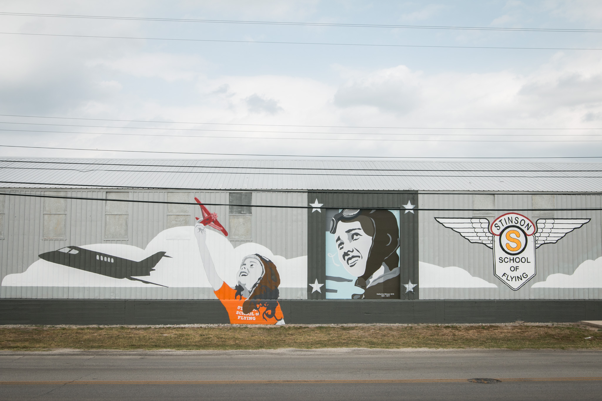 A new mural is seen at Stinson Municipal Airport.