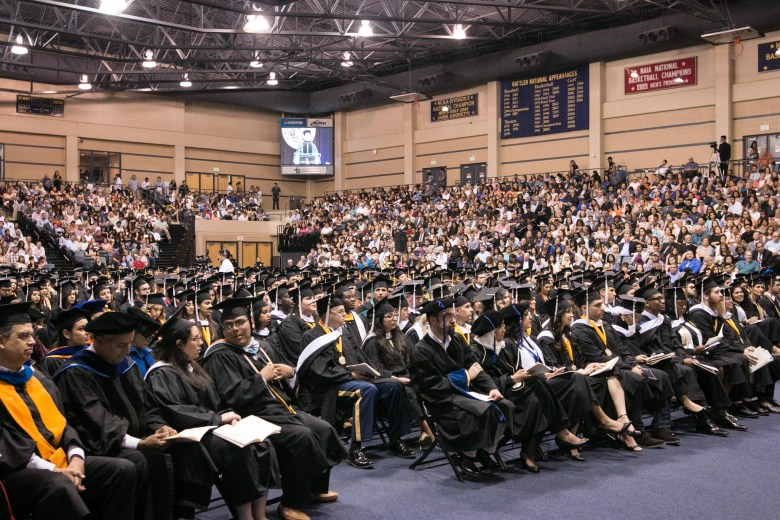Future graduates gather at St. Mary's University commencement ceremony.