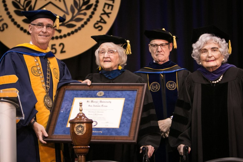 Lila Cockrell (left center) is awarded Doctor of Laws, honoris causa, after Rosemary Kowalski (right) is awarded Doctor of Philosophy, honoris causa, at St. Mary's University's 165th annual Spring Commencement.