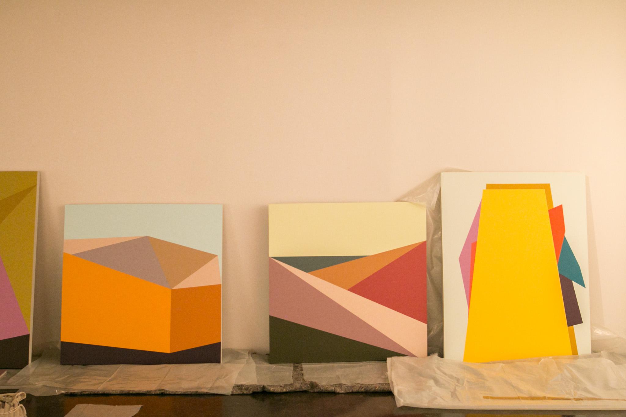 A few paintings of San Antonian artist Esteban Delgado line the floor at the Southwest School of Art.
