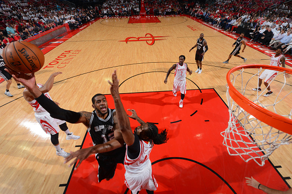 LaMarcus Aldridge #12 of the San Antonio Spurs shoots the ball against the Houston Rockets in Game Three of the Western Conference Semifinals of the 2017 NBA Playoffs on May 5, 2017 at the Toyota Center in Houston, Texas.