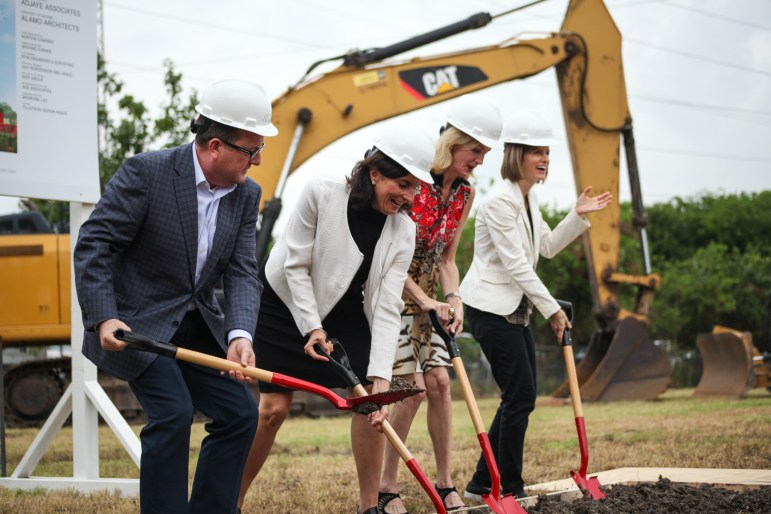 San Antonio community leaders break the ground at the announcement of Ruby City for the Linda Pace Foundation.