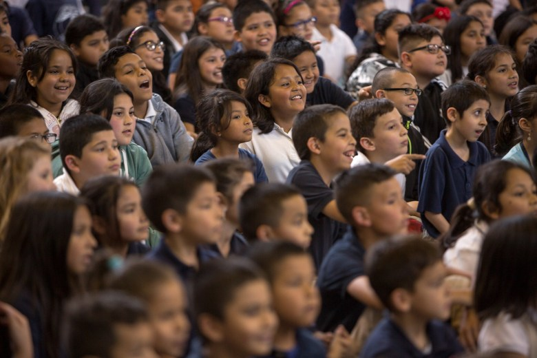 Beacon Hill Elementary students watch the performance of the opera speaking out against cyberbullying titled 'Beautiful Dreamer'.