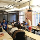 Codeathon participants settle into their new digs for the next 24 hours as the challenge begins.