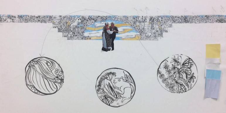 Katie Pell's two-part mural focuses on lost wildlife along San Pedro Creek.