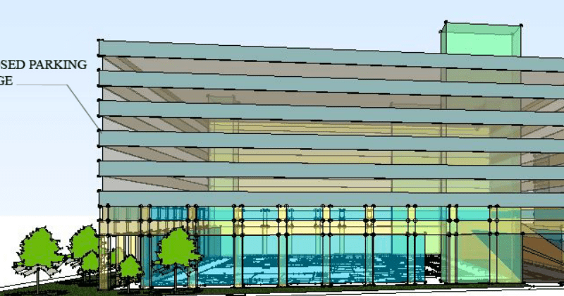 This preliminary rendering of the new downtown garage shows seven levels of parking.