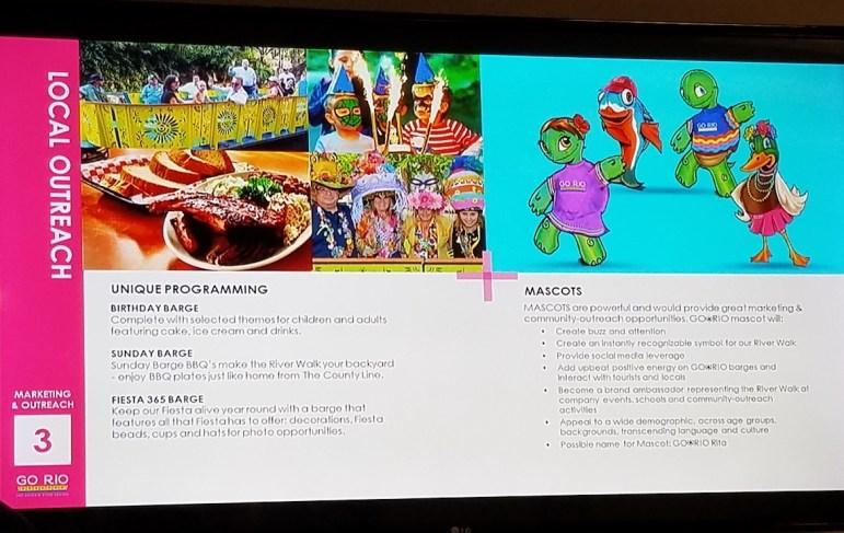 """This photo of a Go Rio San Antonio presentation slide shows the duck mascot, """"Rio Rita"""" (right)."""
