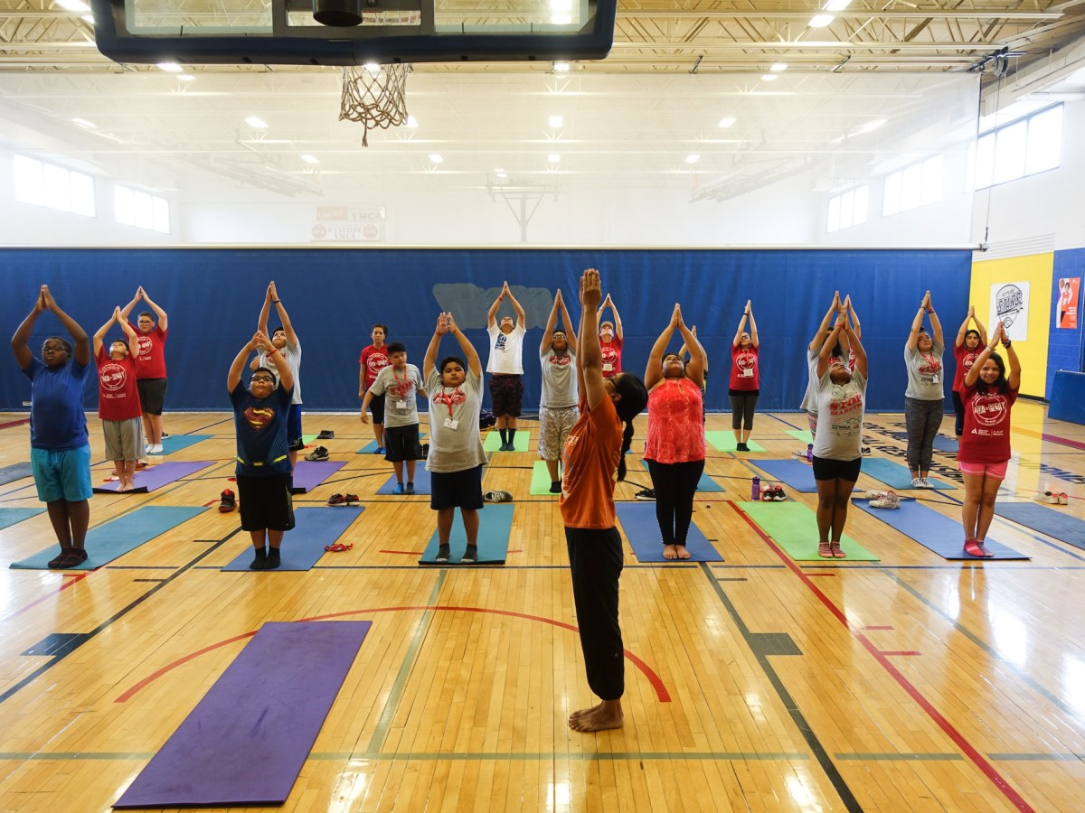 Campers practice yoga at American Diabetes Association camp.
