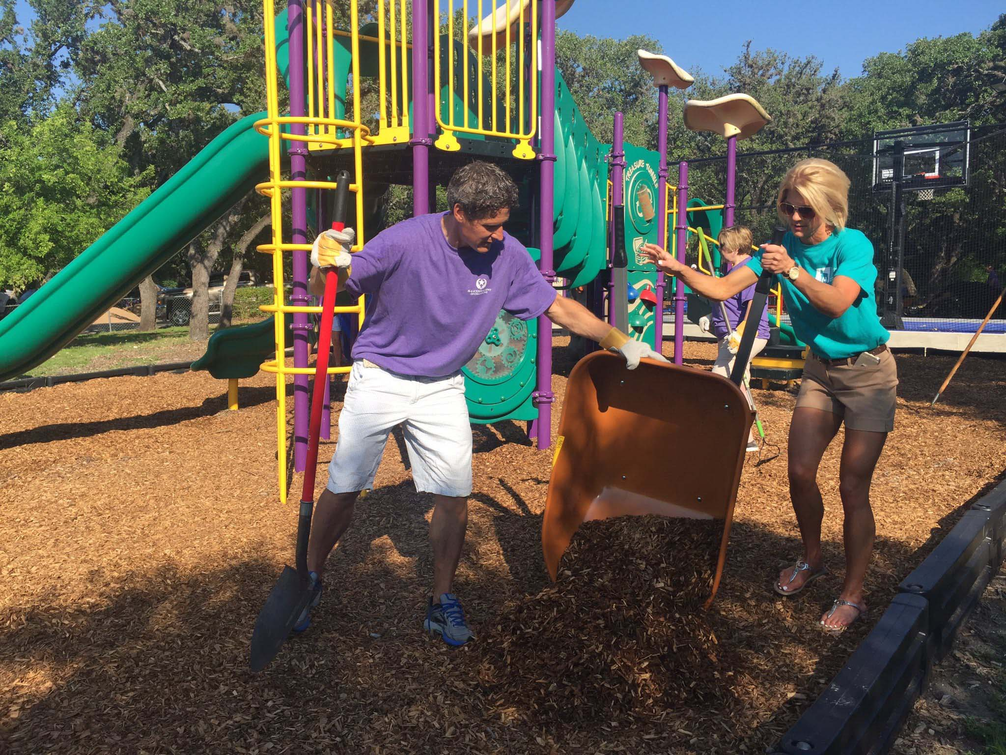 Volunteers execute campus improvement projects that include landscaping, painting, cleaning common areas and recreational space, and enhancing outdoor space at the Children's Shelter Residential Campus.