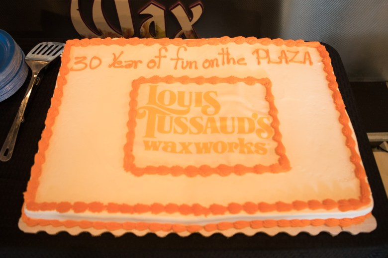 A cake is displayed for the 30th Anniversary Celebration of Louis Tussaud's Waxworks.