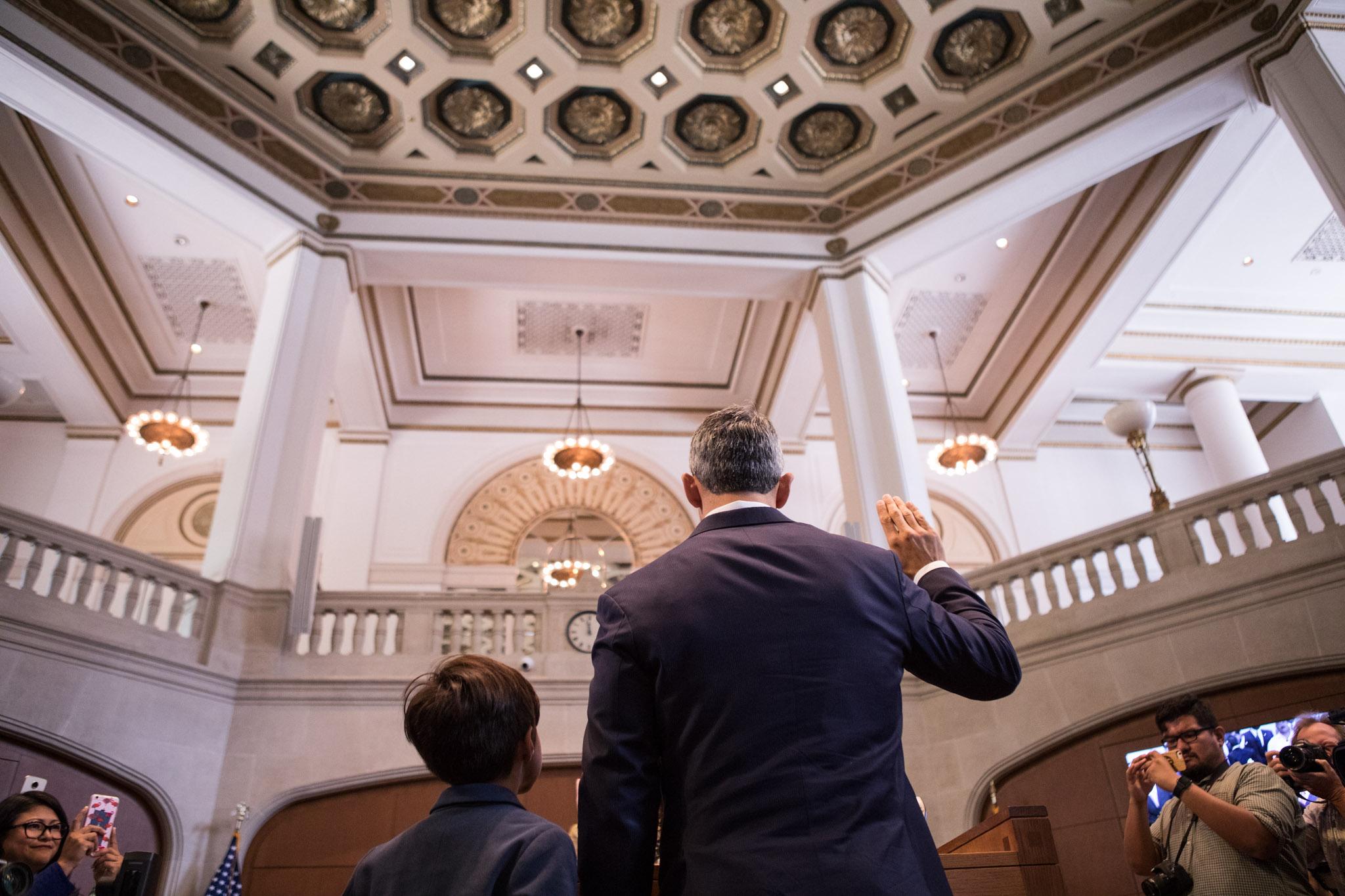 Ron Nirenberg is sworn in as mayor of San Antonio alongside his son Jonah, 8, on June 21, 2017.