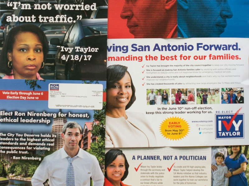A variety of mail is collected from the campaigns of Mayor Ivy Taylor and Councilman Ron Nirenberg (D8).
