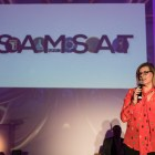 Girls Inc Executive Director Lea Rosenauer speaks at the opening of the San Antonio Museum of Science and Technology.