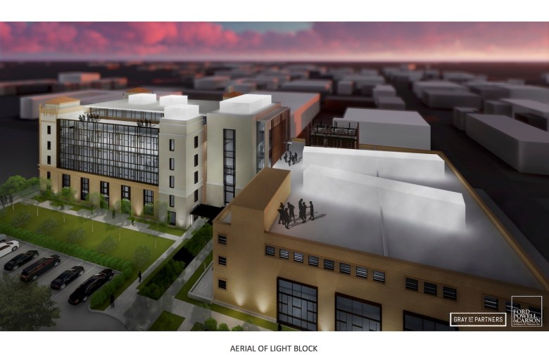 Plans for a rooftop bar or restaurant on either the Light or Print buildings are in early stages.