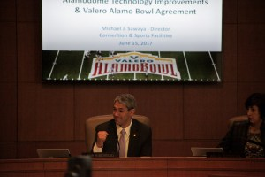 Mayor elect Ron Nirenberg smiles at the prospect of improvements to the Alamodome.