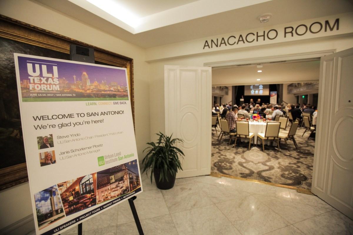 San Antonio Urban Land Institute (ULI) hosts a luncheon at the St. Anthony Hotel to discuss San Antonio's urban growth and development.