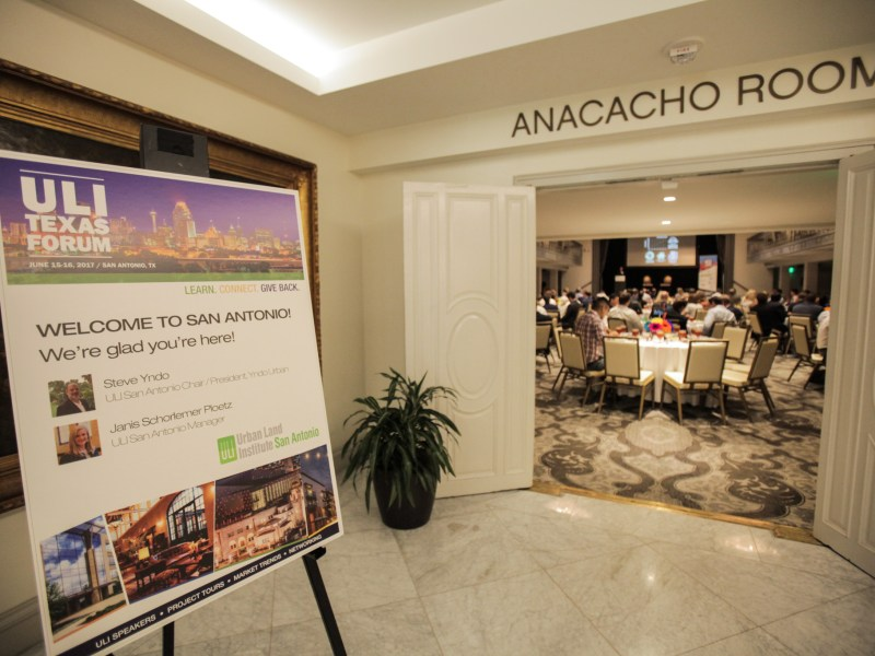 San Antonio Urban Land Institute (ULI) hosts a luncheon at the St. Anthony Hotel to discuss San Antonio's urban growth and development.