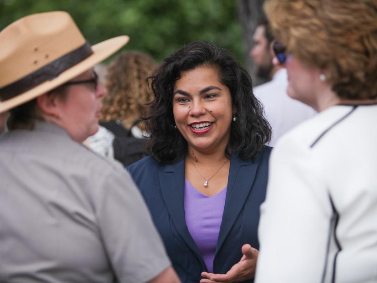 Councilwoman Rebecca J. Viagran (D3) chats with park superintendent Mardi Arece.