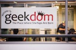 Geekdom members enjoy the conference rooms at geekdom headquarters.
