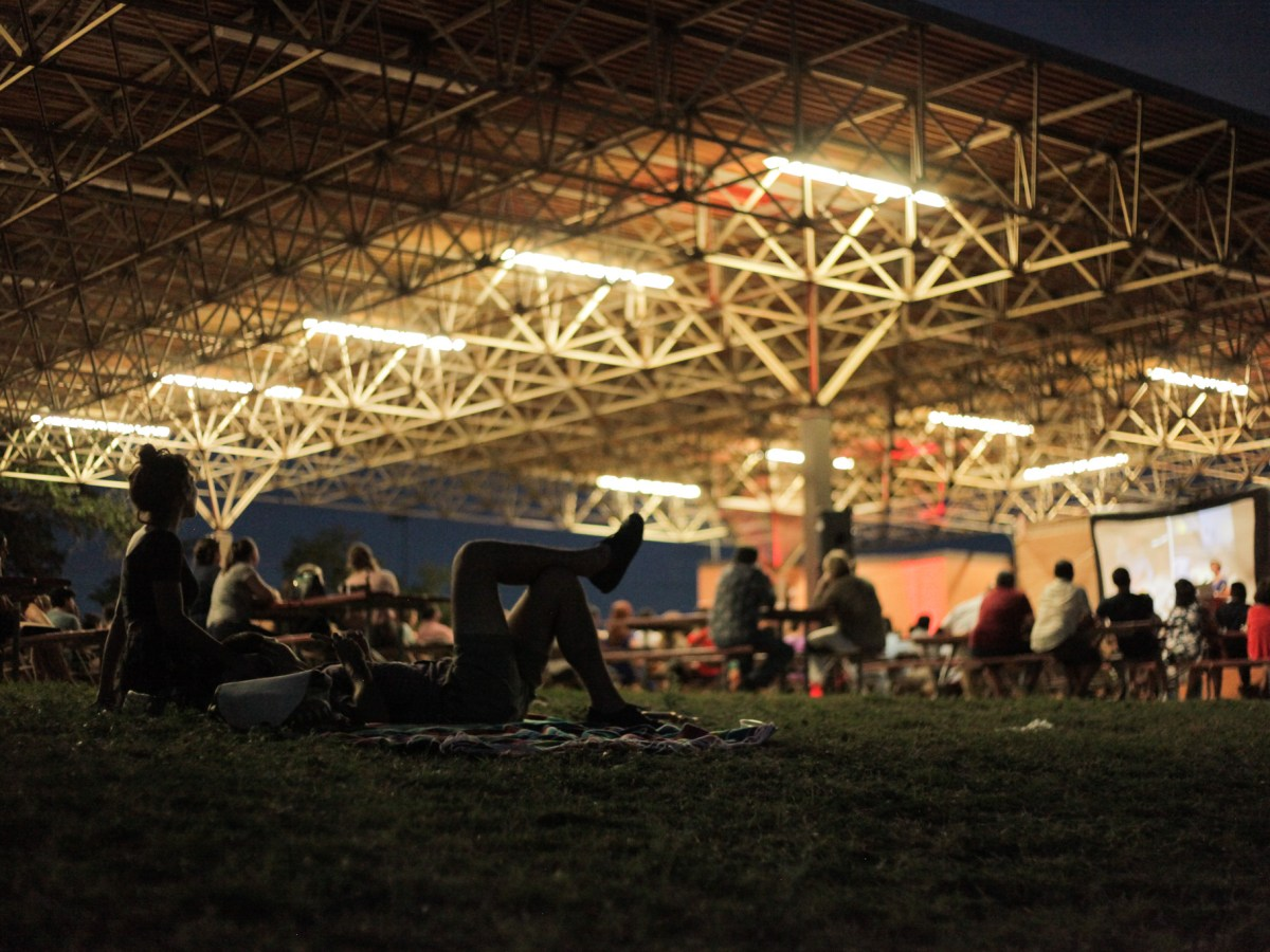 Attendees take advantage of the grassy area at Rosedale Park during PechaKucha.