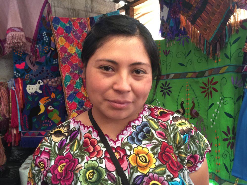 One of the most respected weavers in Sarita Flores' shop in San Cristobal de Las Casas.