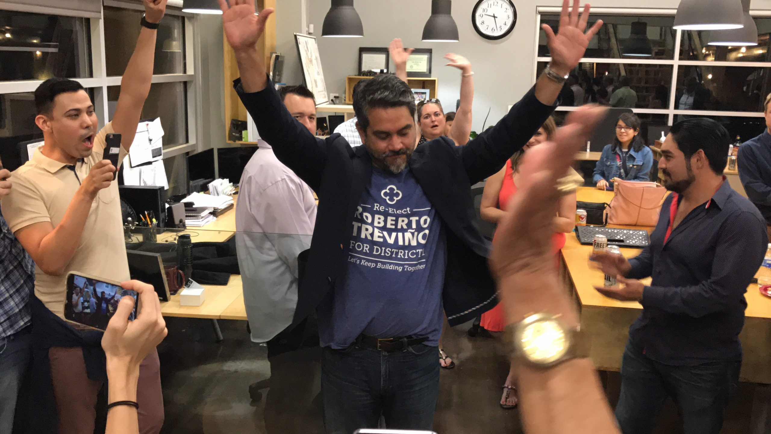Councilman Roberto Treviño celebrates his re-election in District 1 after the June 10 runoff results are announced.
