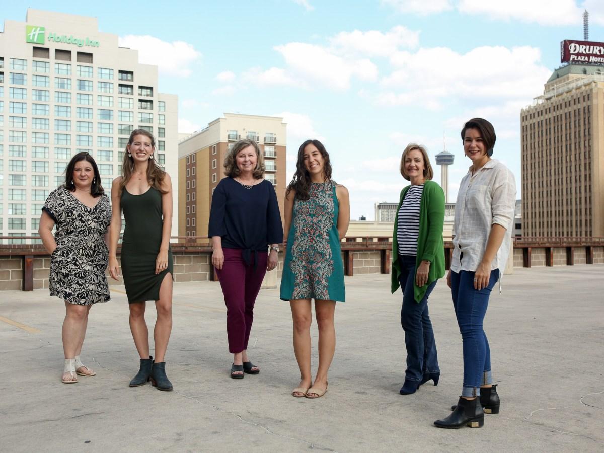 Newly hired Rivard Report staff members (from left) Iris Gonzalez, Bonnie Arbittier, Shari Biediger, Roseanna Garza, Wendy Cook, and Emily Royalle.