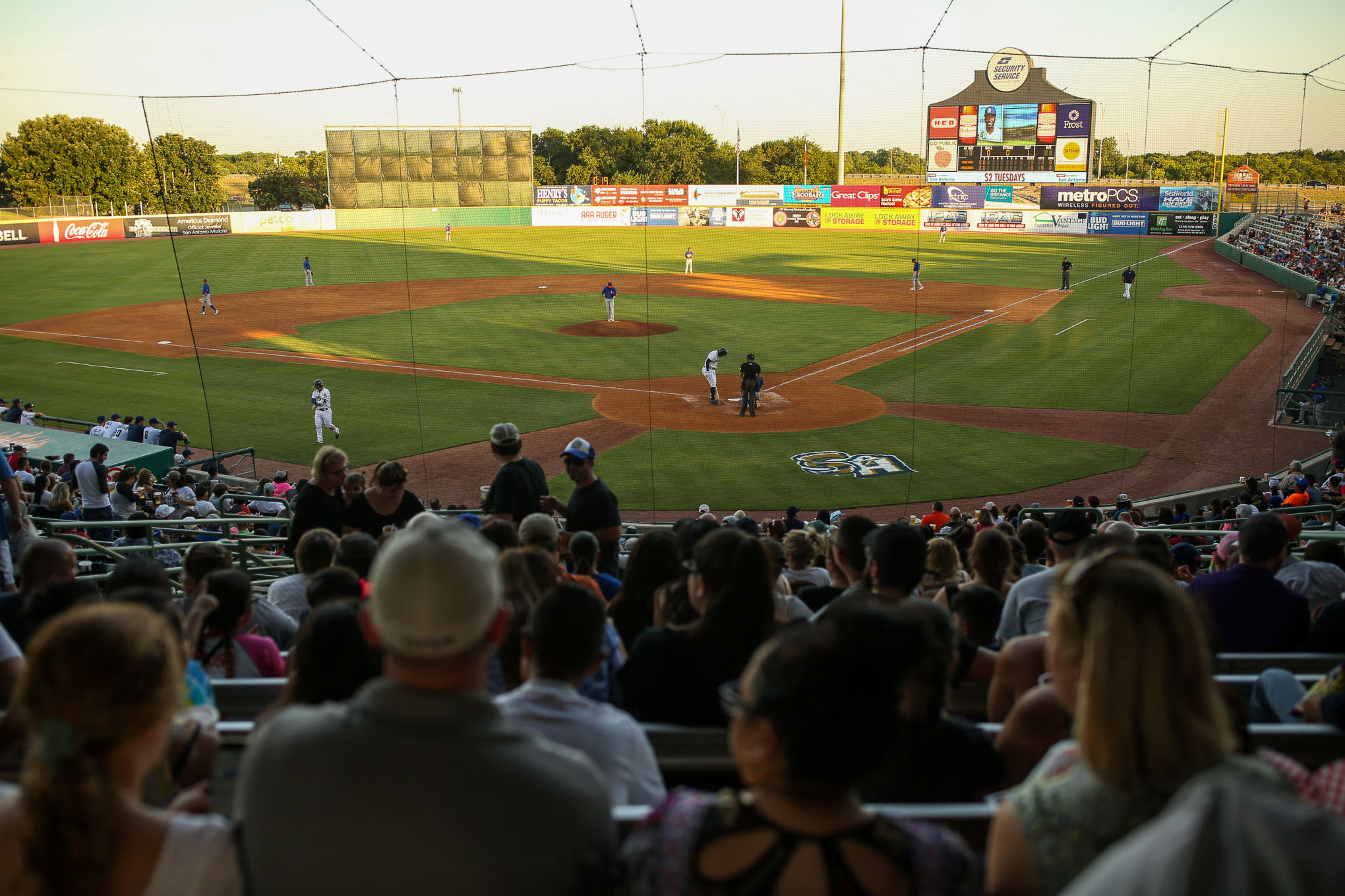 The Missions are currently playing at the Nelson W. Wolff Municipal Stadium around 10 miles West of downtown San Antonio.