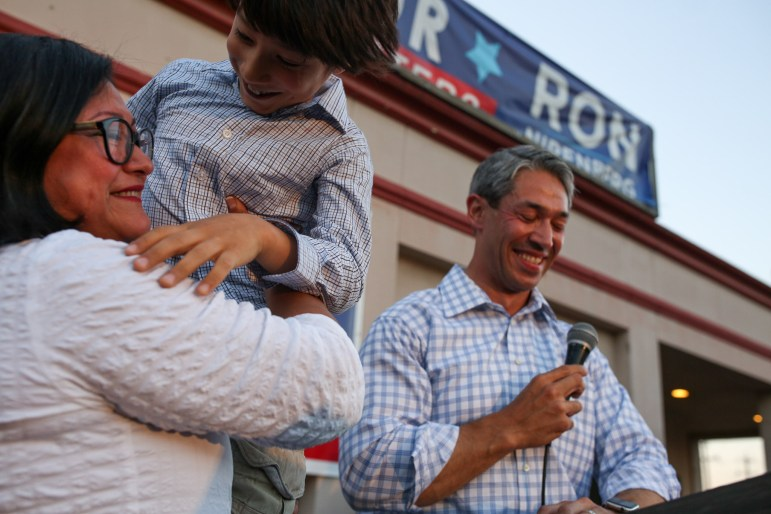 (From left) Erika Prosper, Jonah Nirenberg, and Ron Nirenberg celebrate his successful campaign for mayor.