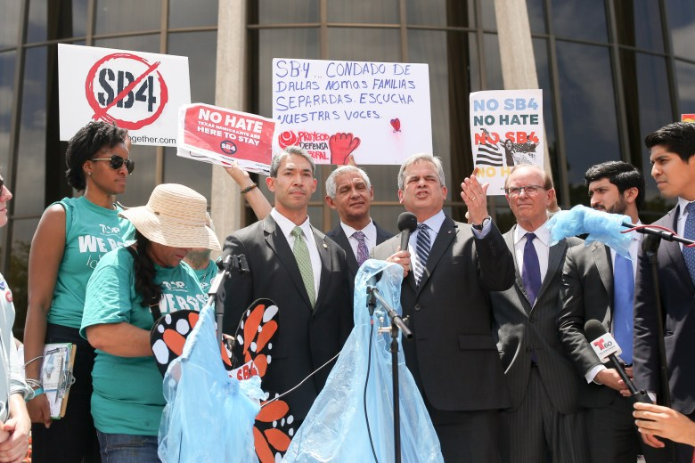 Austin Mayor Steve Adler is joined by San Antonio Mayor Ron Nirenberg and other elected officials protesting Senate Bill 4.
