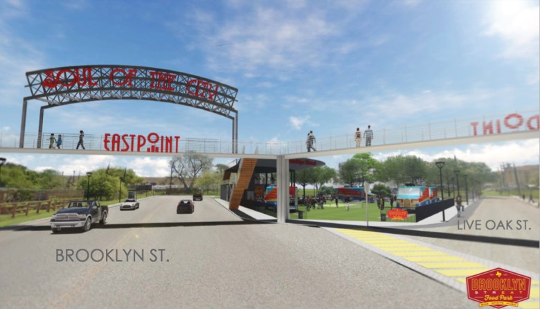 This rendering shows the main entrance to Brooklyn StrEat Food Park.
