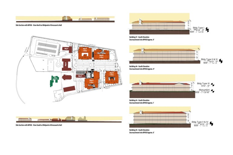 A break down of which buildings of the proposed apartment complex will violate the height overlay.