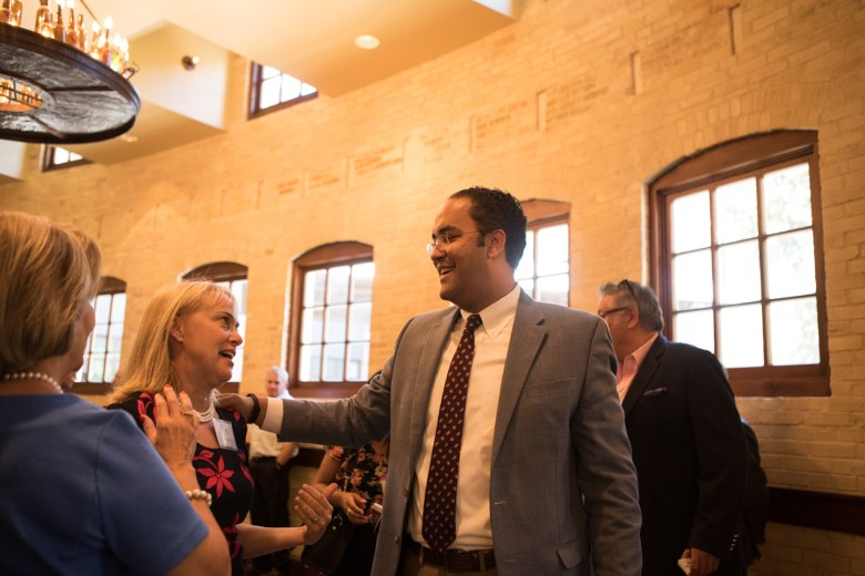 Congressman Will Hurd (R-Texas) greets the crowd before his conversation about NAFTA and trade policy at the Pearl Stables.