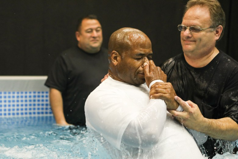 Samuel Thurston is baptized during the 2017 convention of Jehovah's Witnesses in the Freeman Coliseum.